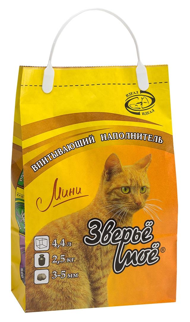 Наполнитель Зверье Мое минеральный впитывающий для кошачьего туалета, 2,5 кг, в ассортименте