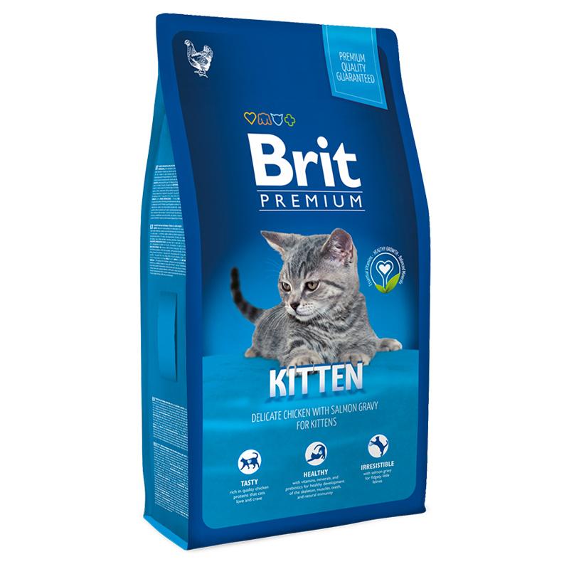 Брит Корм премиум класса Kitten для котят, беременных и кормящих кошек, Курица в лососевом соусе, в ассортименте, Brit