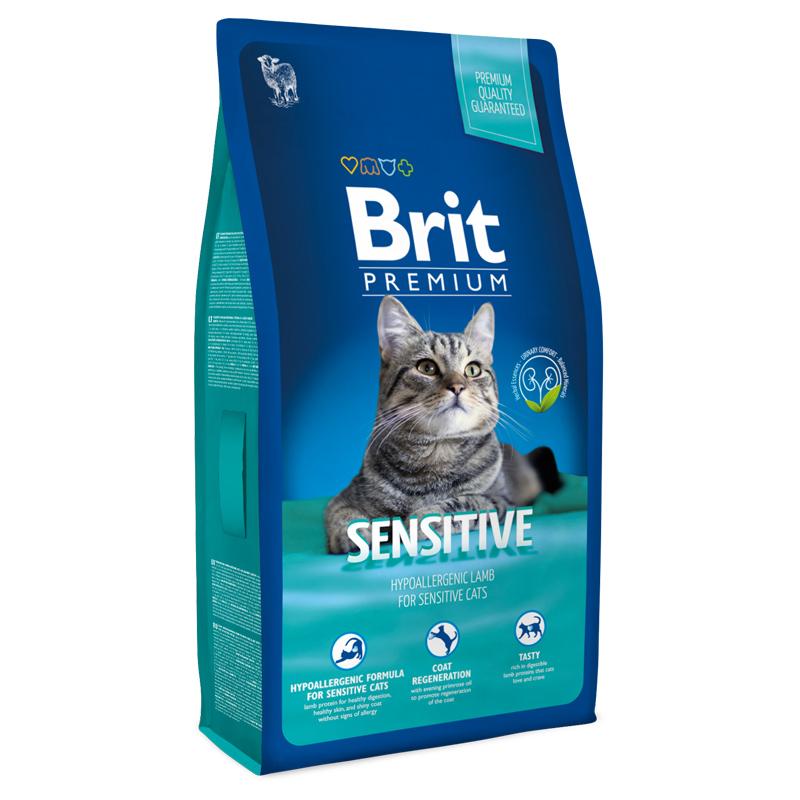 Брит Корм Premium Cat Sensitive гипоаллергенный для кошек с чувствительным пищеварением, Ягненок, в ассортименте, Brit