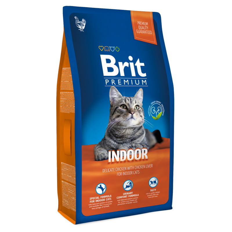 Брит Корм Premium Cat Indoor для кошек домашнего содержания, Курица в соусе из куриной печени, в ассортименте, Brit