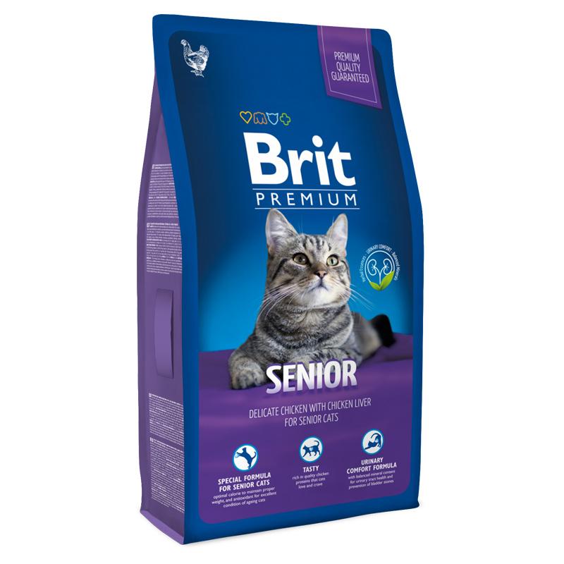 Брит Корм Premium Cat Senior для пожилых кошек, Курица в соусе из куриной печени, в ассортименте, Brit