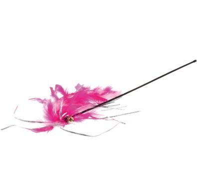 V.I.Pet Удочка-дразнилка розовая пышная с бубенчиком, перьями и мишурой, длина палочки 47 см, хвост 20 см, PetLine