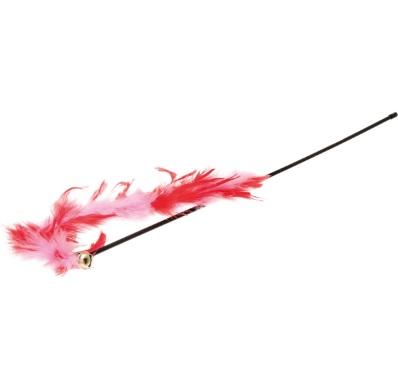 V.I.Pet Удочка-дразнилка красно-розовая с бубенчиком и перьями, длина палочки 47 см, хвост 30 см, PetLine