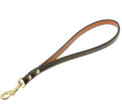 ПетЛайн Водилка-ручка кожаная, черная, золотой карабин, длина 30 см, в ассортименте, PetLine