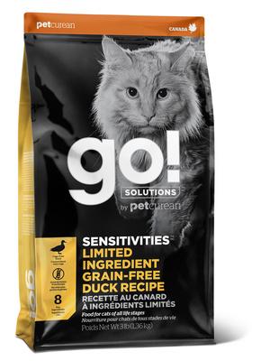 ГОУ Корм сухой беззерновой для котят и кошек с чувствительным пищеварением, Утка, Solutions Sensitivities Grain Free Duck Recipe, в ассортименте, Go!
