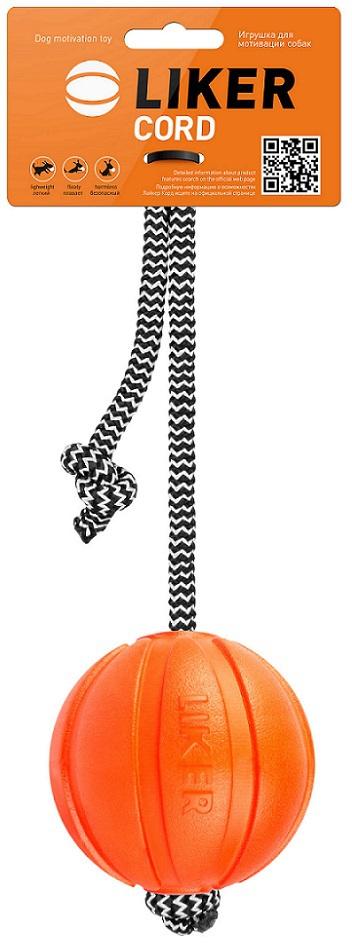 Коллар Мяч Liker (Лайкер) Корд на веревке, 7*30 см, вес 35 г, оранжевый, Collar