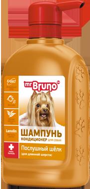 """Мистер Бруно Шампунь-кондиционер """"Послушный шелк"""" для собак с длинной шерстью, 350 мл, Mr. Bruno"""