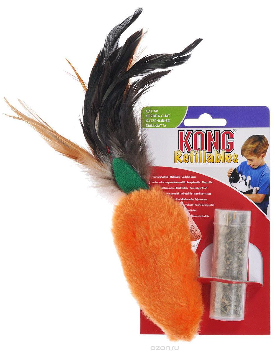 """Конг Игрушка из плюша с перьями """"Морковь"""" для кошек, кошачья мята в комплекте, 15 см, Kong"""