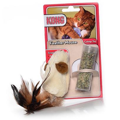 """Конг Игрушка  для кошки """"Мышь полевка"""" с перьями и тубом кошачьей мяты, плюш, 15 см, Kong"""