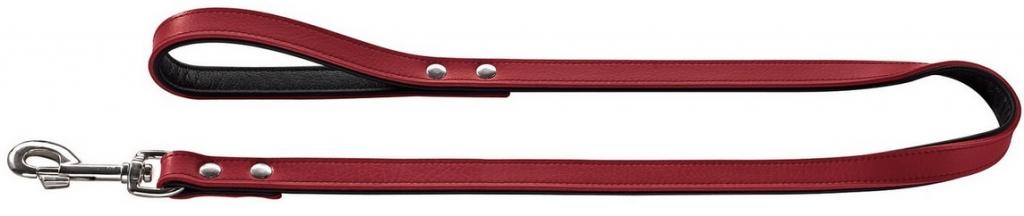 Хантер Поводок для собак Basic (Бейсик), натуральная кожа, красный, длина 1 м, ширина 1,8 см, Hunter