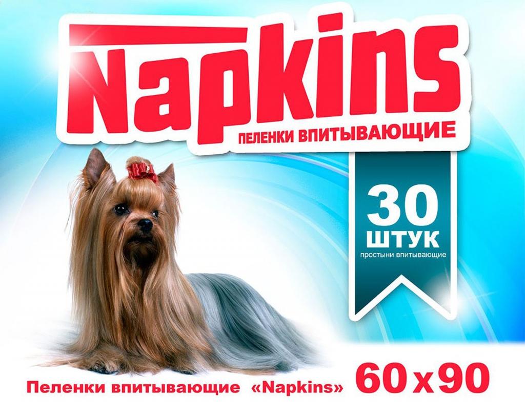 Напкинс Пеленки впитывающие для собак, 60*90 см, в ассортименте, Napkins