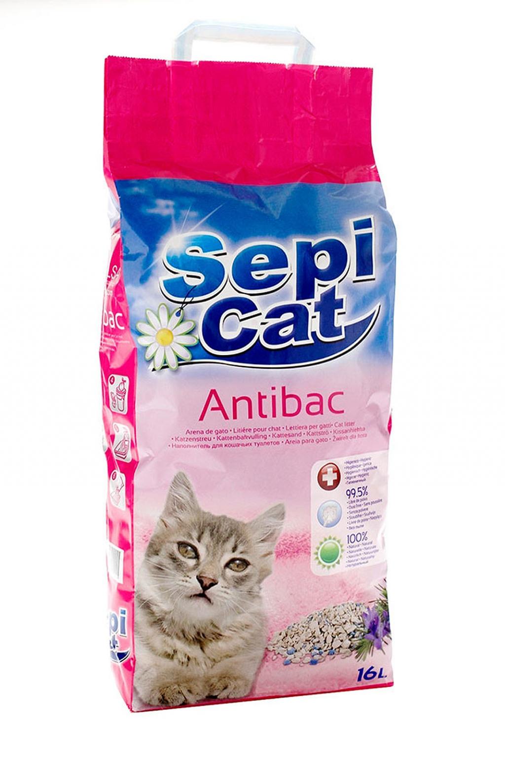 Сепиолса Наполнитель Sepicat Antibac Антибактериальный впитывающий, для кошачьего туалета, в ассортименте, Sepiolsa