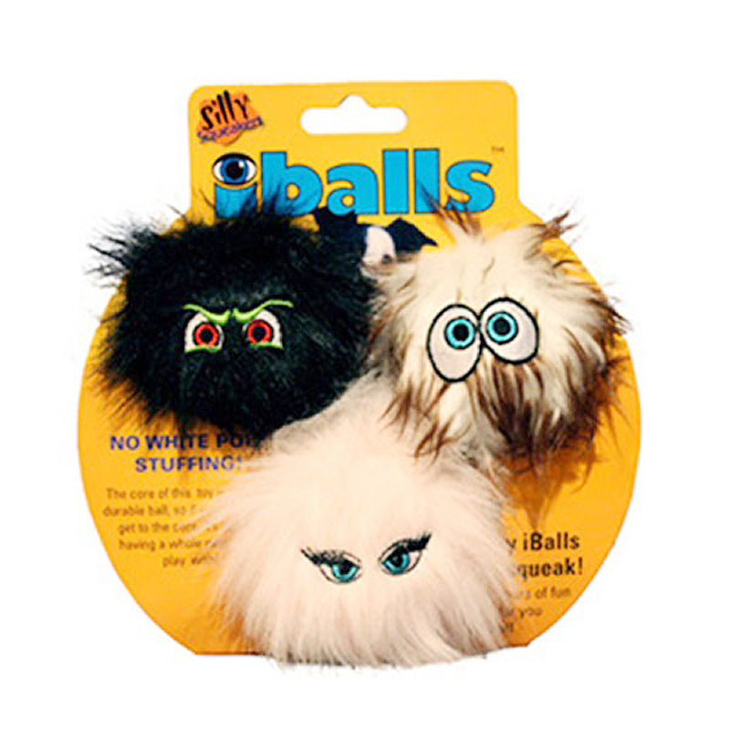 """Силли Скуикэрз Игрушка-пищалка для собак iBalls """"Пушистый мяч с глазами"""", набор из 3 мячей, Silly Squeakers"""