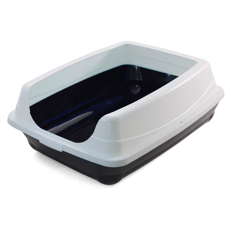 Триол Туалет-лоток для кошек прямоугольный с высоким бортом, 46*35*23 см, цвета в ассортименте, Triol