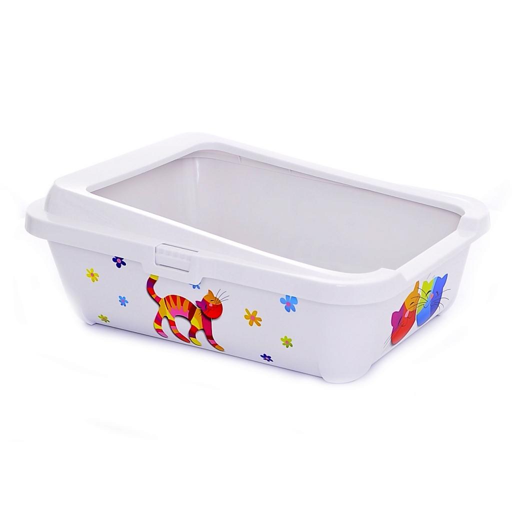 Модерна Продукт Туалет Hercules для кошек прямоугольный с рамкой и высоким задним бортом, 51*39*19 см, в ассортименте, Moderna Products