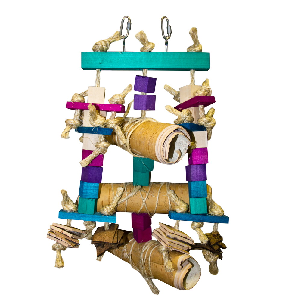 ПарротсЛаб Объемная игрушка с берестой PL4020 для крупных птиц, 40*25 см, ParrotsLab