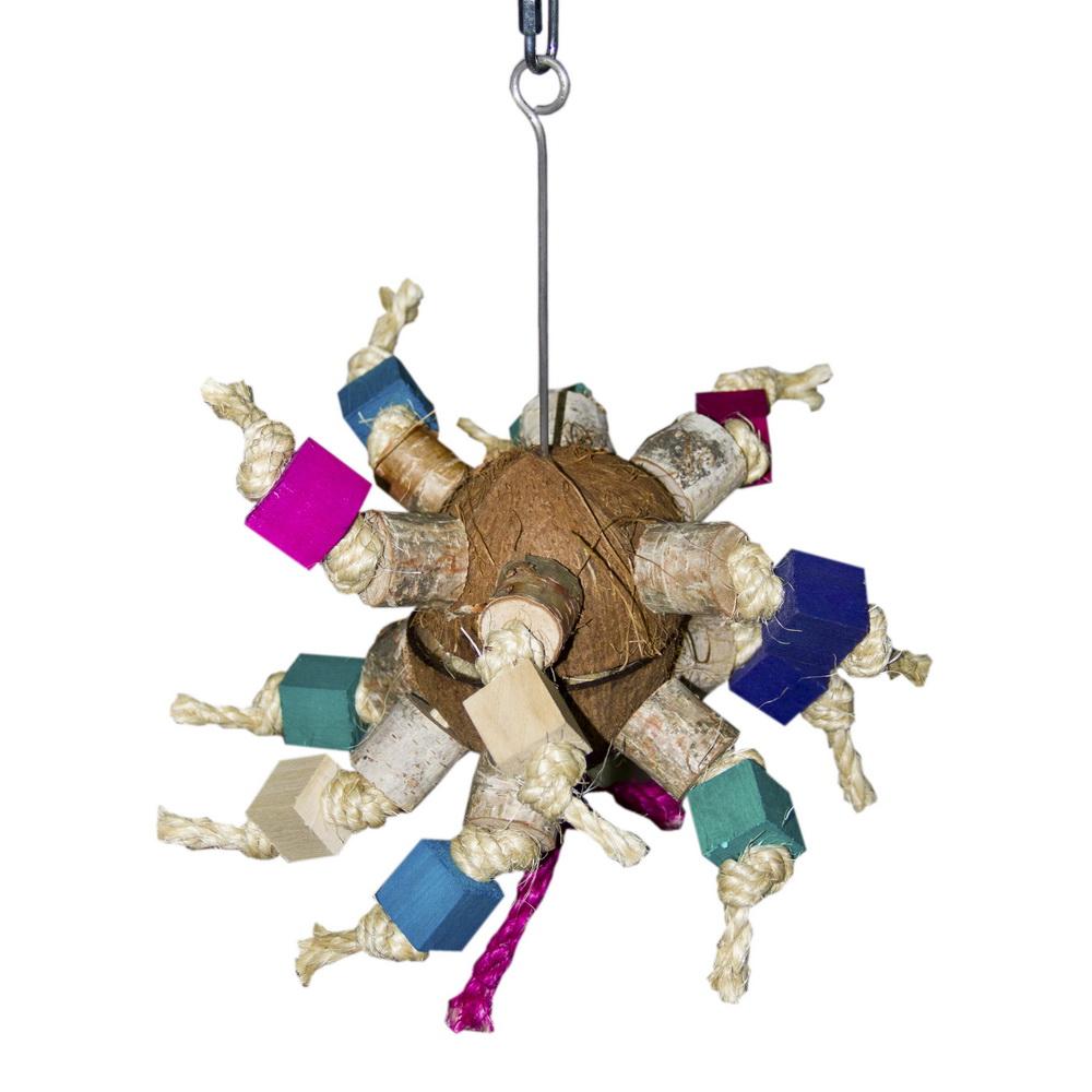 ПарротсЛаб Подвеска и фуражная игрушка PL4044 для крупных птиц Кокосовый Рай, 38*27 см, ParrotsLab