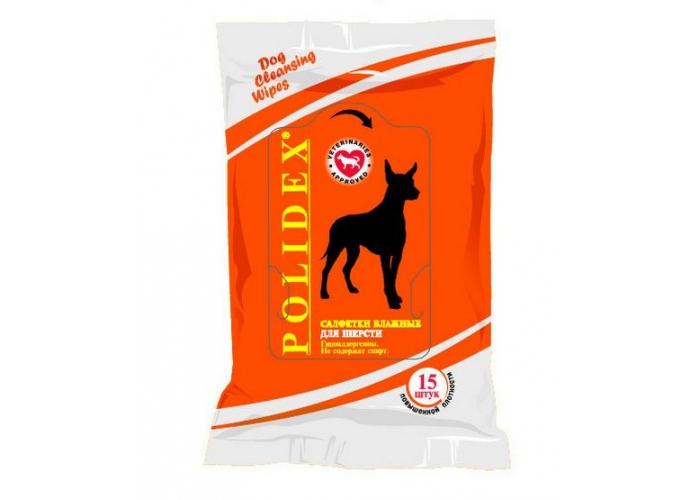 Полидекс Влажные салфетки для шерсти собак, 15 шт/уп, Polidex
