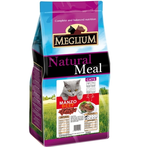 Меглиум Корм сухой Manzo Beef для кошек, Говядина, в ассортименте, Meglium