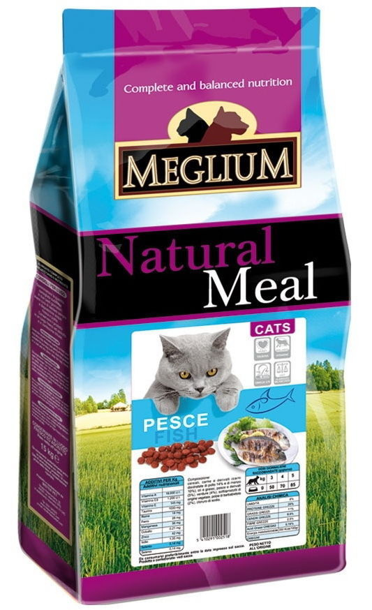 Меглиум Корм сухой Pesce для кошек, Рыба, в ассортименте, Meglium