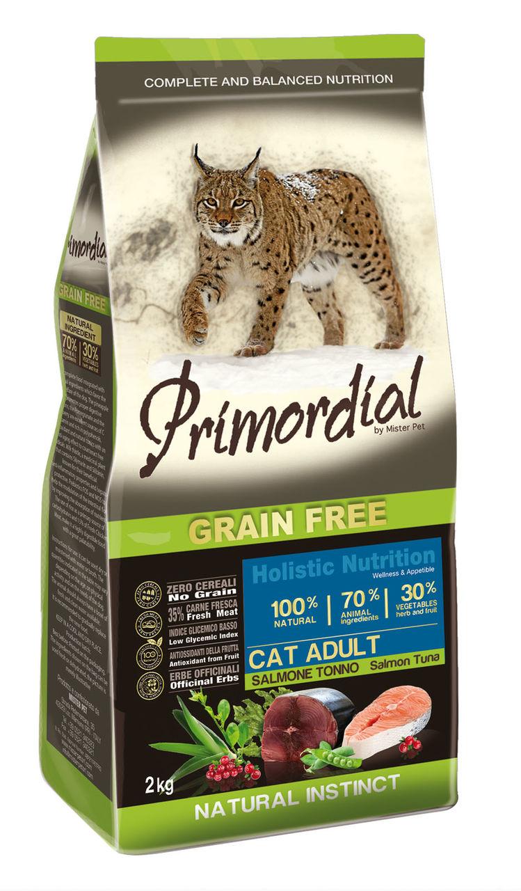 Примордиал Беззерновой сухой корм Cat Adult Salmone Tonno для кошек, Лосось/Тунец, в ассортименте, Primordial