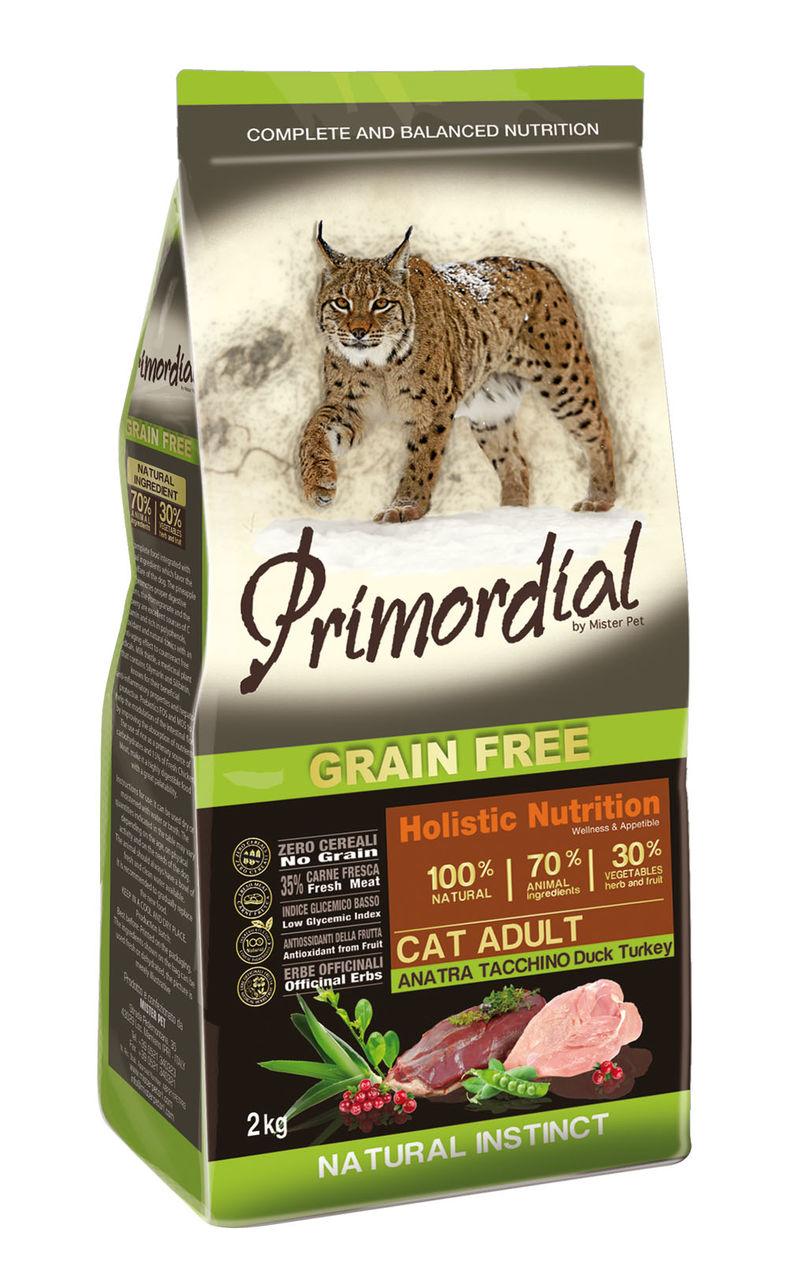 Примордиал Беззерновой сухой корм Cat Adult Anatra Tacchino для кошек, Утка/Индейка, в ассортименте, Primordial