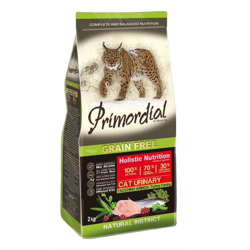Примордиал Беззерновой сухой корм Cat Urinary Tacchino Aringa для кошек с МКБ, Индейка/Селедка, в ассортименте, Primordial