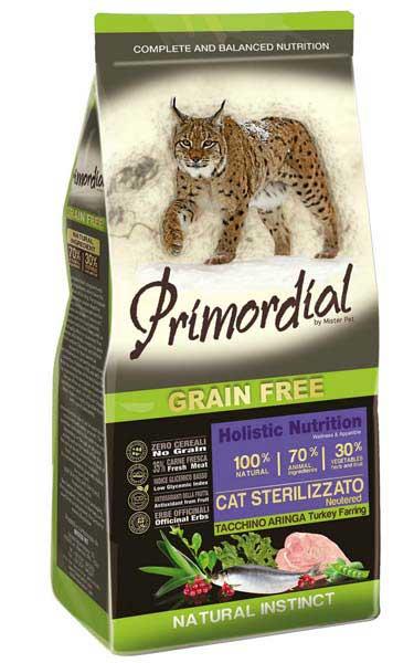 Примордиал Беззерновой сухой корм Cat Sterilizzato Neutered/Tacchino Aringa для стерилизованных кошек, Индейка/Селедка, в ассортименте, Primordial