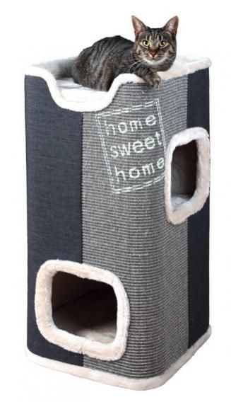 Трикси Домик-башня для кошек Jorge, 40*40*78 см, серый/антрацит, Trixie