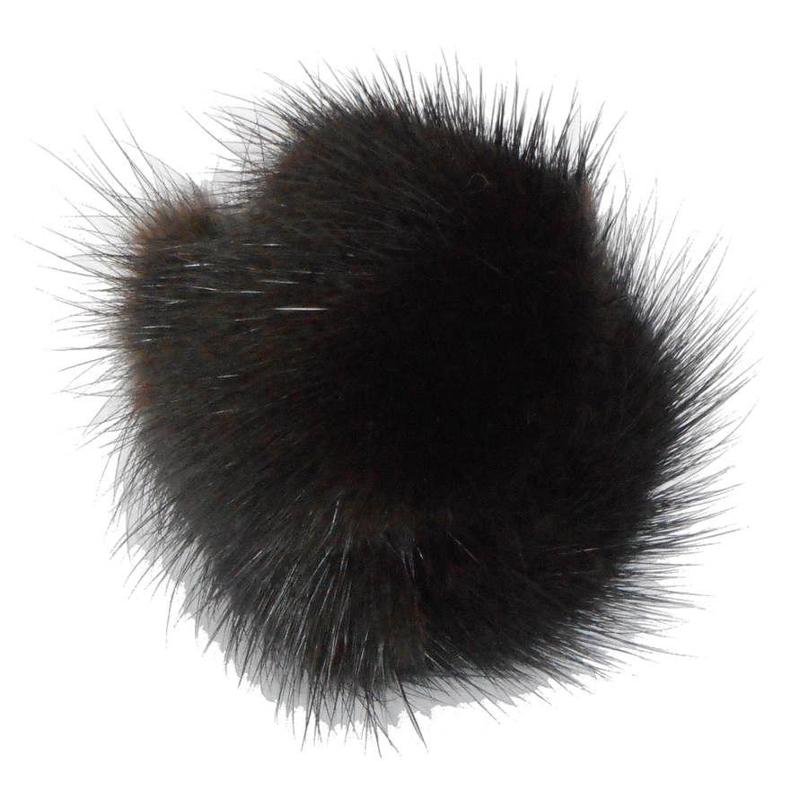 Игрушка для кошек Пушистик из натуральной норки с колокольчиком, диаметр 4 см, GoSi