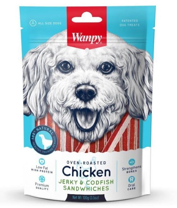 Ванпи Лакомство для собак Курица с треской в форме сэндвича, 100 г, Wanpy