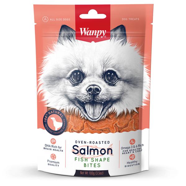 """Ванпи Лакомство для собак Лакомые кусочки из нежного лосося в форме рыбок"""", 100 г, Wanpy"""
