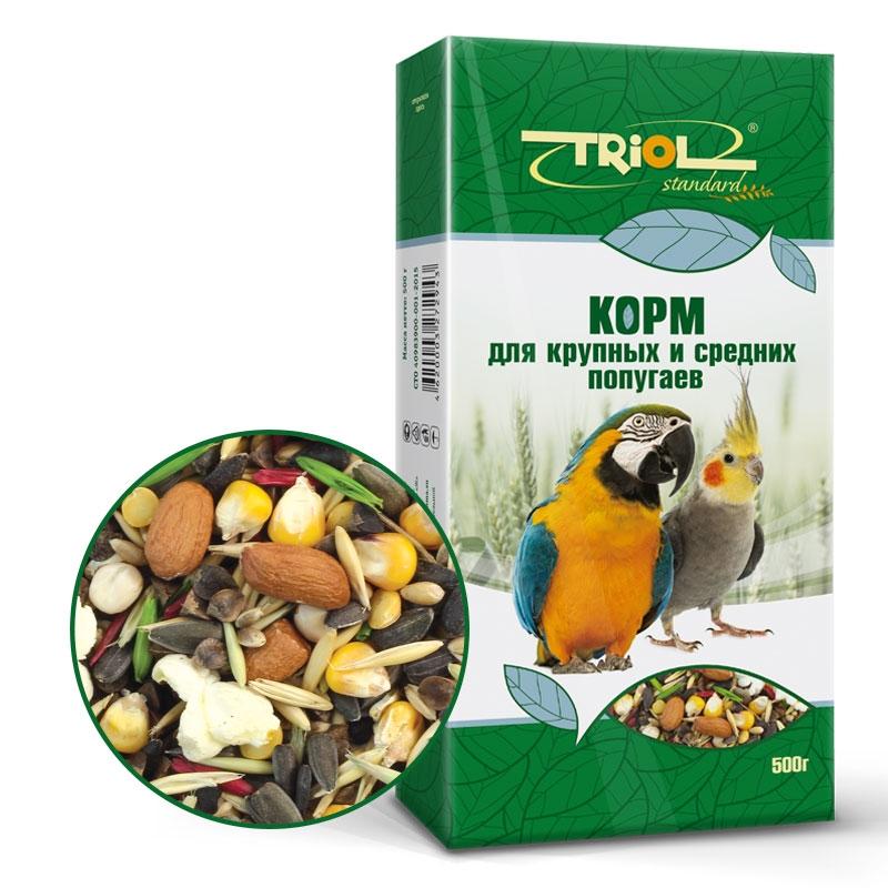 Триол Корм Standard для крупных и средних попугаев, 500 г, Triol