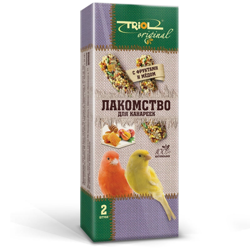 Триол Лакомство Original для канареек с фруктами и мёдом, 2 штуки, Triol