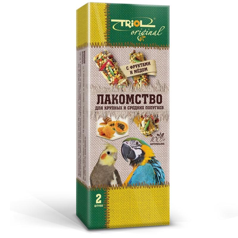 Триол Крекер (палочка на деревянном стержне) Original для крупных и средних попугаев с фруктами и мёдом, 2 шт./уп., Triol