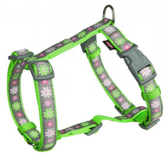 Трикси Шлейка Blooms H для собак зеленая/серая, нейлон, обхват груди 40-65 см, ширина ремешков 2 см, Trixie