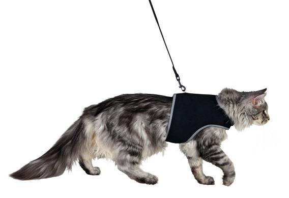 Трикси Шлейка-жилетка мягкая с поводком для крупных кошек, 36-54 см, нейлон, Trixie