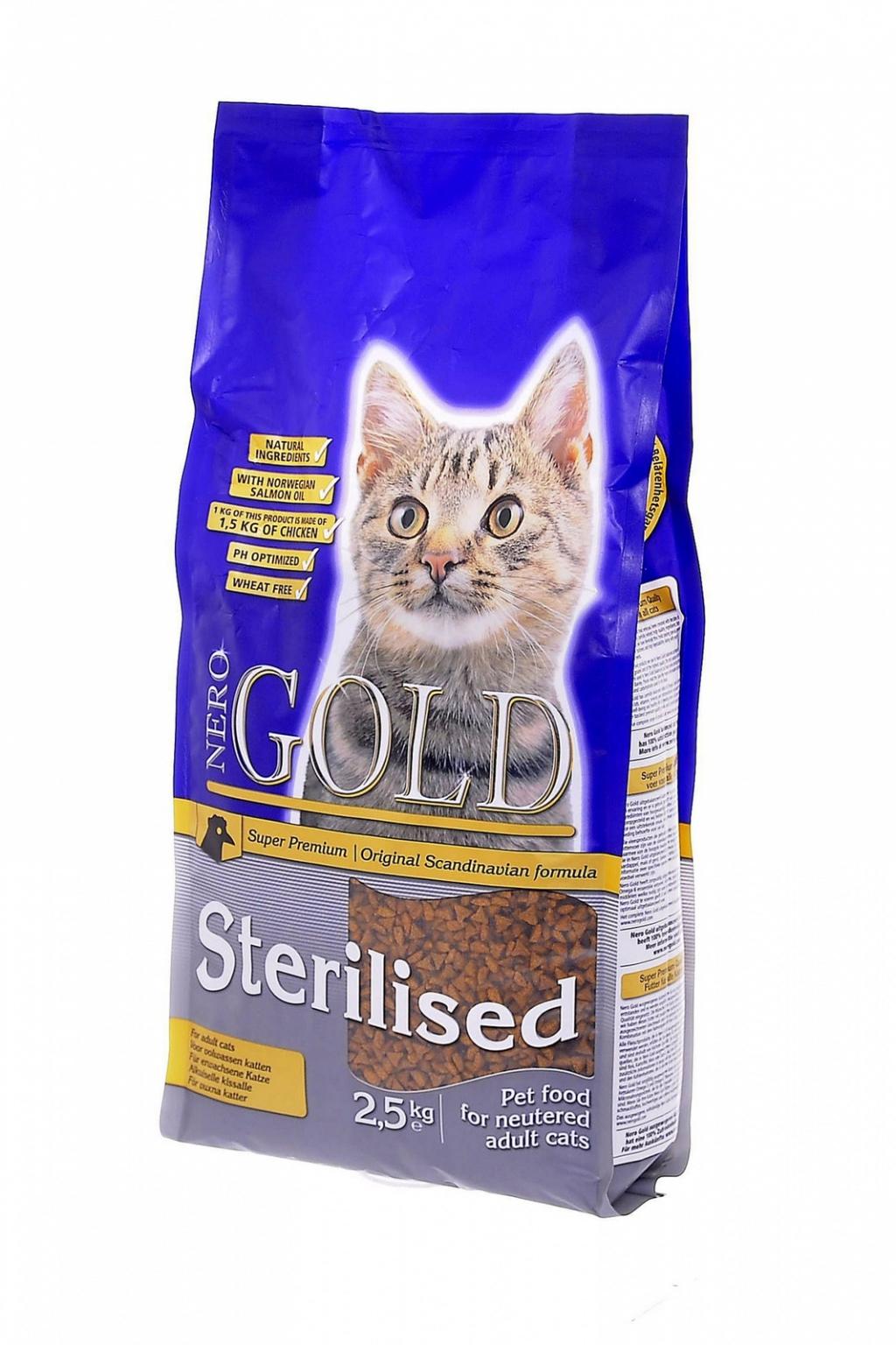 Неро Голд Корм сухой Cat Sterilized для стерилизованных кошек, Курица, в ассортименте, Nero Gold