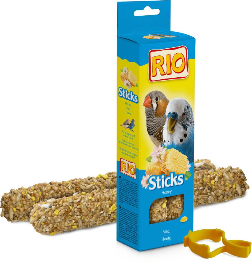 Рио Крекер (палочка на деревянном стержне) для волнистых попугаев и экзотических птиц, в ассортименте, 2*40 г, Rio