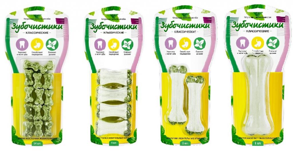 Зубочистики Косточки жевательные для чистки зубов собак, в ассортименте