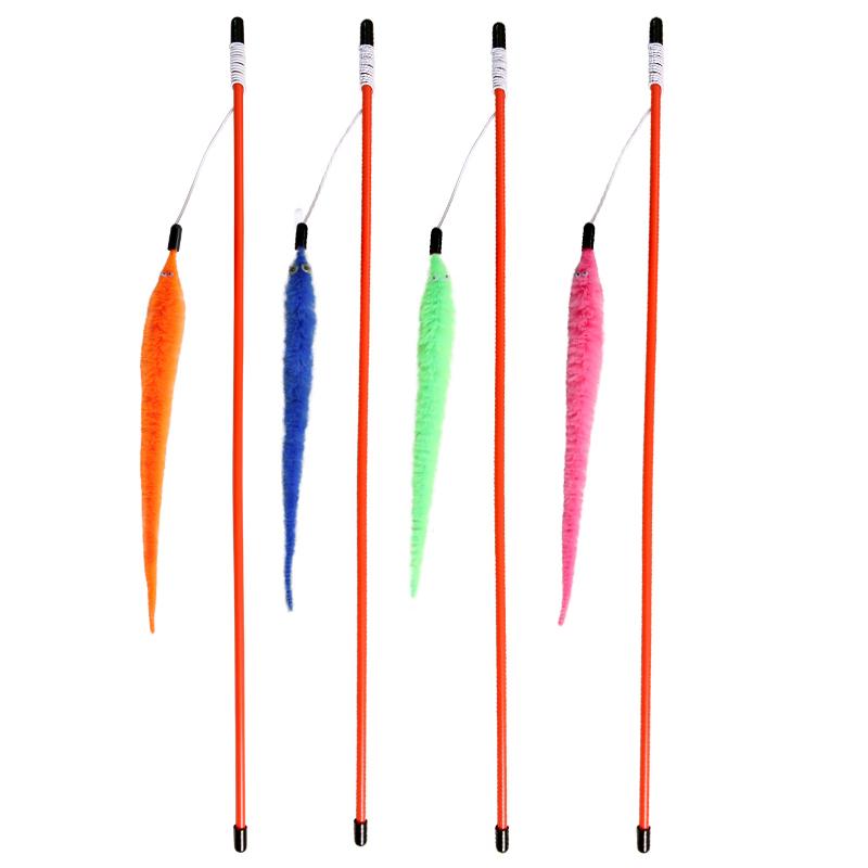 Триол Удочка-дразнилка Неоновый хвостик на резинке, игрушка 22 см, палочка 54 см, в ассортименте, Triol