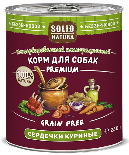 Солид Натура Холистик Консервы из натуральных субпродуктов для собак всех пород, в ассортименте, 240 г, Solid Natura Holistic