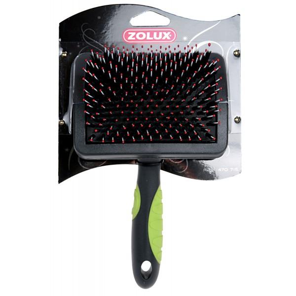 Золюкс Пуходерка пластиковая с закругленными гибкими щетинками для кошек и собак, в ассортименте, Zolux