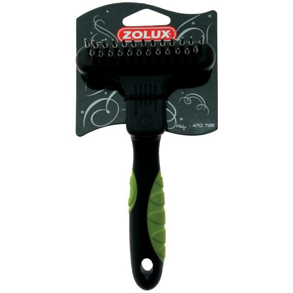 Золюкс Расческа-скребница двухрядная комбинированная, 13 длинных/12 коротких зубцов  для кошек и собак, 9*9,5*17,5 см, Zolux