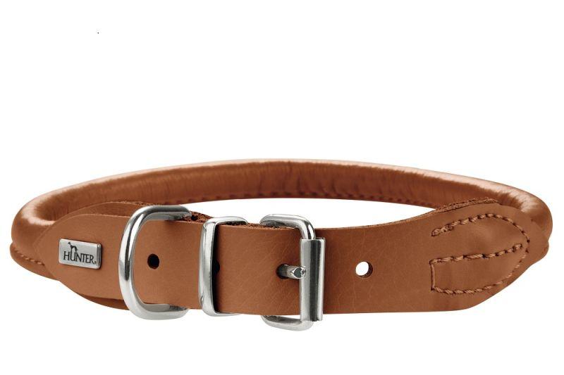 Хантер Ошейник для собак Round end Soft Elk круглый, толщина 6 мм, кожа лося, в ассортименте, Hunter
