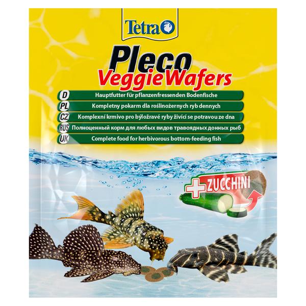 Тетра Корм Pleco Veggie Waffers корм-пластинки с добавлением цуккини для донных рыб, 15 г, Tetra