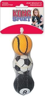 Конг Игрушка для собак мелких пород Air Теннисный мяч, диаметр 4 см, 3 шт/уп., Kong