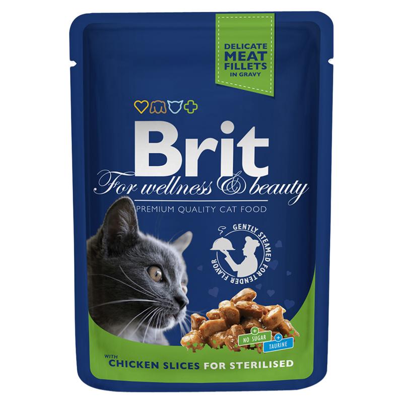 Брит Паучи премиум класса Chicken Slice for Sterilized для кастрированных котов и стерилизованных кошек, Курица, 24*85 г, Brit