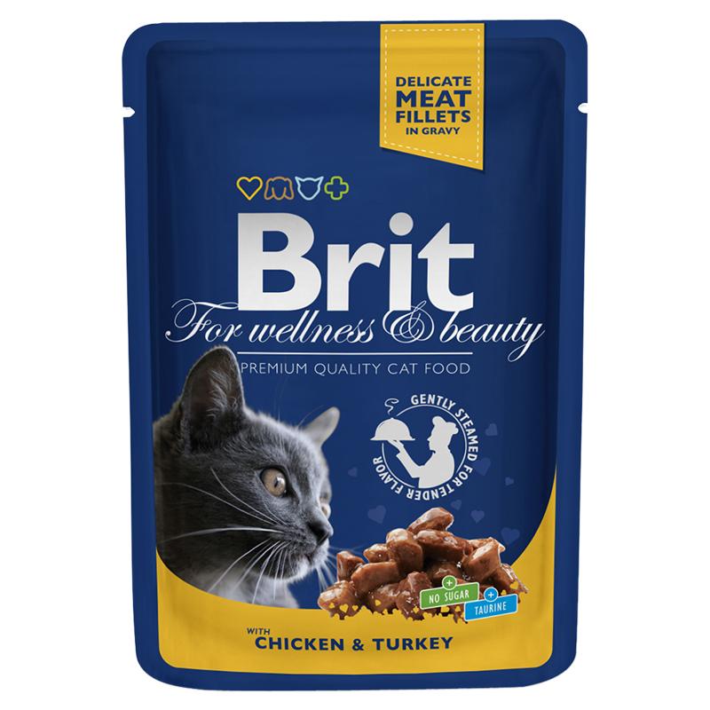 Брит Паучи премиум класса для кошек, в ассортименте, 24*100 г, Brit