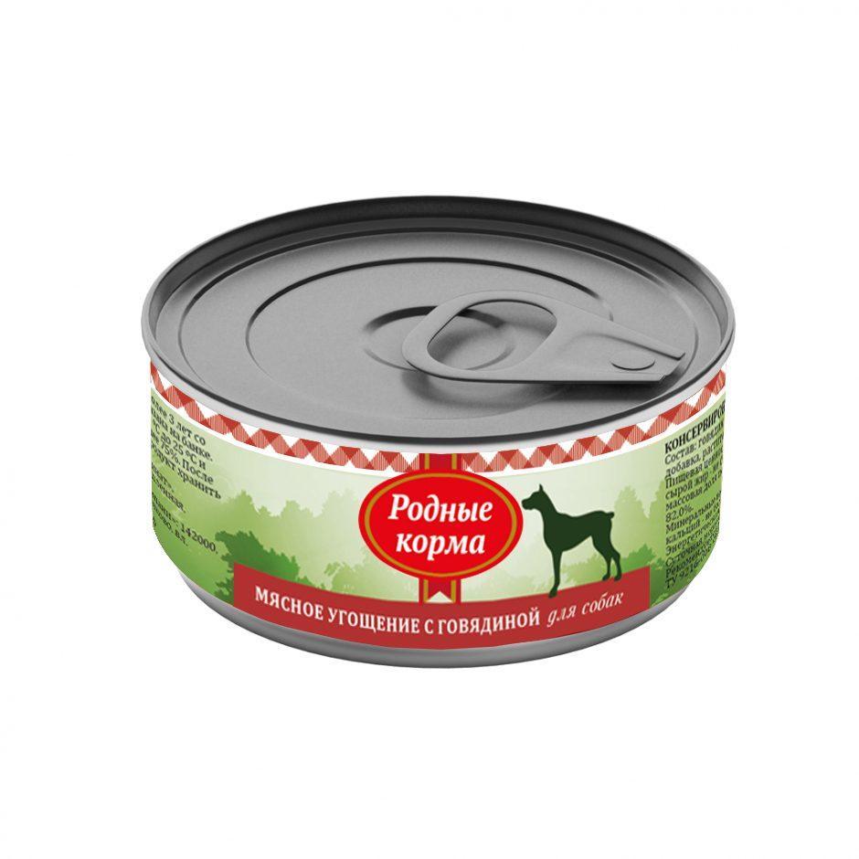 Родные Корма Мясное угощение Консервы из натурального мяса для собак всех пород, в ассортименте, 100 г, Родные корма